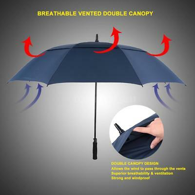 61'' Auto Open Double Canopy Ventilated Windproof Stick Golf Umbrella LARGE F0S2