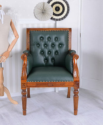 Library Chair Leather Armchair Mahogany Chair Chesterfield Library Chair