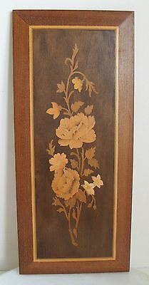 Wooden Marquetry Picture of Flowers Inlaid Wood