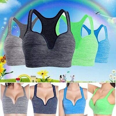 Women Seamless Tank Tops Stretch Workout Yoga Padded Sports Bras 32 - 38 Cup Hot