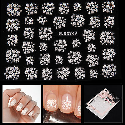 3D Nail Art Lace Stickers Tips Decals Transfers Sliver Flowers Rhinestone Detail