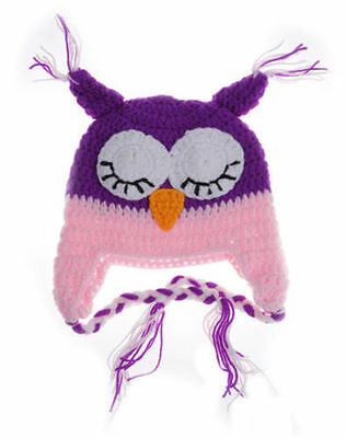 Owl Crochet Hats Keep Warm Infant Baby Boys & Girls ( Pink/Purple)