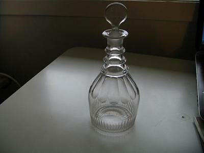 Antique Clear Glass Decanter 3 Neck rings stopper