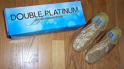 NEW IN BOX Gold Glitter Jazz Dance Shoes Double Platinum Performance Women Sz 6