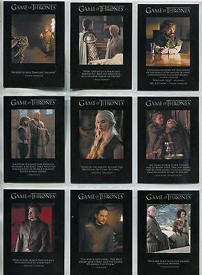 Game Of Thrones Season 6 Complete Quotable Game Of Thrones Chase Card Q51-59