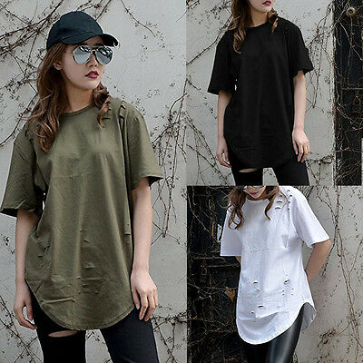 New Women Loose Tee Short Sleeve T Shirt Hole Cotton Casual Blouse Loose Tops