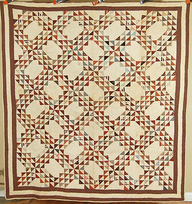 WELL QUILTED Vintage 1880's Ocean Waves Antique Quilt ~NICE EARLY BROWN FABRICS!