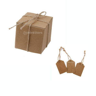 Vintage 100x Kraft Paper Blank Gift Tags+50x Candy Boxes Wedding Party Favor