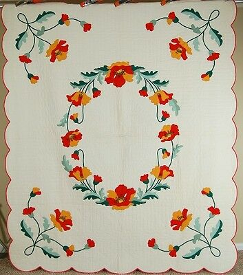 WELL QUILTED Vintage Poppy Applique Antique Quilt ~VIBRANT COLORS & GREAT DESIGN