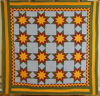 MUSEUM QUALITY Vintage 1860's PA Mennonite Touching Stars Antique Quilt ~ZIGZAG!