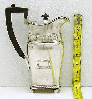 Dublin Ireland Sterling Silver Coffee pot Wood Handle Marked Weir & Sons c1916