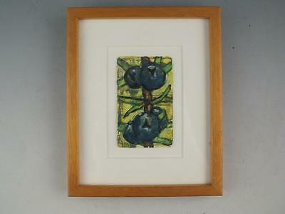Framed Oil On Paper Painting Of A Blueberries By Listed Artist Aaron Fink