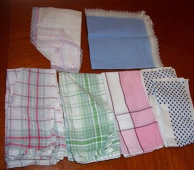 Lot of 6 Vintage Lady's Handkerchiefs 2 With Lace Trim Polka Dots Checks