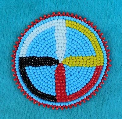 """MEDICINE WHEEL"" NATIVE AMERICAN INDIAN BEADED ROSETTE 60 mm."