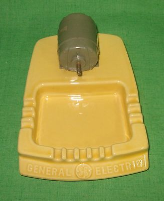 Vintage General Electric Ceramic Advertising Ashtray & Electric Motor Display