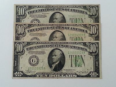 3 Vintage $10 1934-A Federal Reserve Notes ~Lime Green ~Chicago Bank ~Fine To Vf