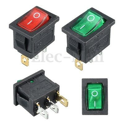 On/Off Rectangle Rocker Switch LED Car Dash Boat 3 PIN 6A 250V/10A 125V AC SPDT