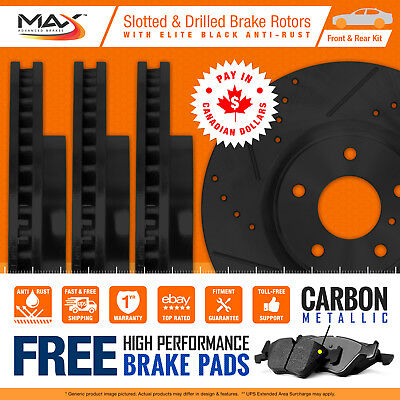 2013 2014 2015 Ram 1500 Black Slotted Drilled Rotor Metallic Pads F+R