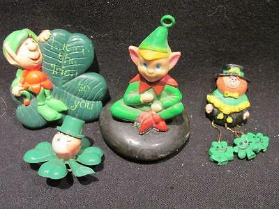 St Patrick's Day Group of Items Incl. Pins & Leprechaun on Rock Made in Ireland