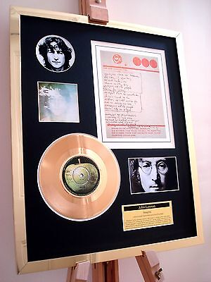 "John Lennon Imagine 7"" Gold Single Record Disc & Handwritten Lyrics Display"
