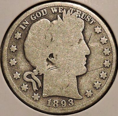 Barber Half - 1893 - Historic Silver! - $1 Unlimited Shipping