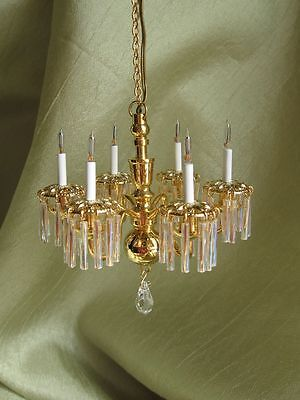 dollhouse doll house miniature 6 ARM ELECTRIC CHANDELIER LAMP