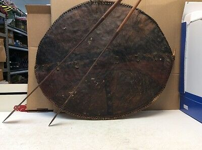Antique Tribal Shield Leather African War Warrior Fighting Armor & 2 Spears