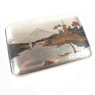 Japanese Mt. Fuji Harbor Damascene Scene Sterling Silver Cigarette Case 4.6""