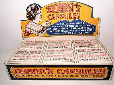 Zerbst's Capsules Medicine Drug Store Pharmacy Die Cut Counter Display Box FULL