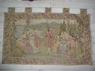 """Antique French Louis XIV Period Scene Large Tapestry Lined Wall Hanging 43x25"""""""