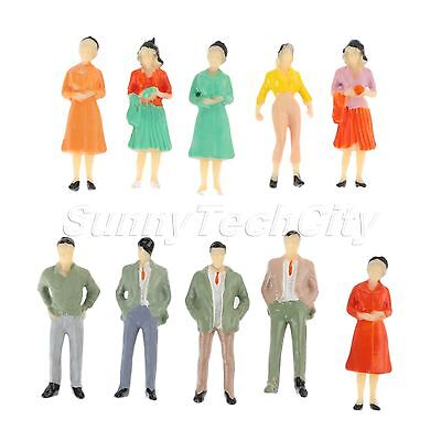 10pcs Assorted Pose Plain People Model Train Scenery 1:50 Scale Colorful Painted