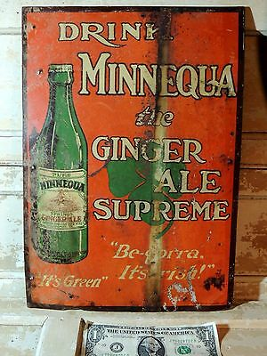 Rare Antique vtg Ginger Ale TIN SIGN Williamsport PA Irish COCA COLA Bottling Co