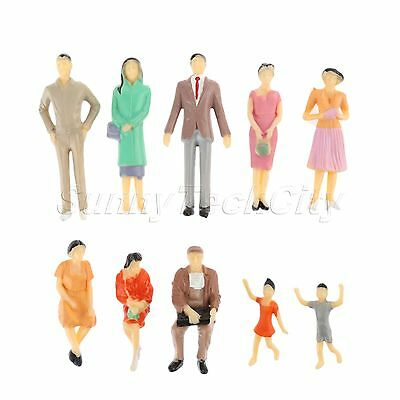 10x Set Plastic Figures People Model Building Layout Scenery Scale 1:30 Painted