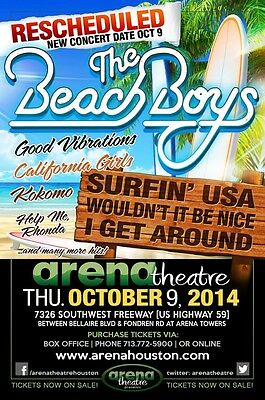 BEACH BOYS 2014 HOUSTON CONCERT TOUR POSTER - Band Logo and Song Titles By Beach