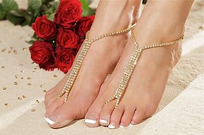 GOLD barefoot beach sandals bridal/wedding diamante anklet foot jewellery