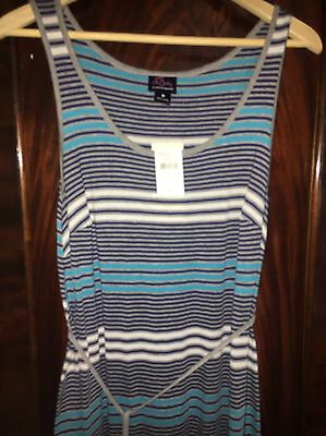 Womens Oh Baby Maternity Blue Grey White Striped Belted Maxi Dress Med Reg $58