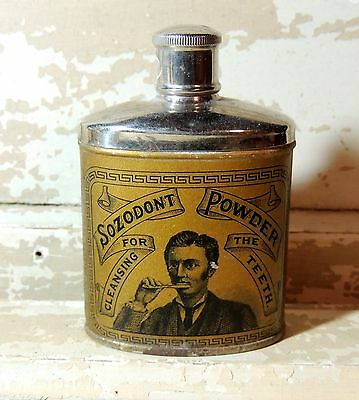rare 1920s Antique Victorian vtg SOZODONT Tooth Powder Dental Talc TIN Dentistry