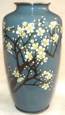 19Th Century Japanese Silver Wire Cloisonne Enamel Cherry Blossom Floral Vase