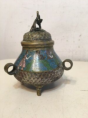 Vintage Chinese Censor Brass With Champleve Unusual Rare Egyptian Scene