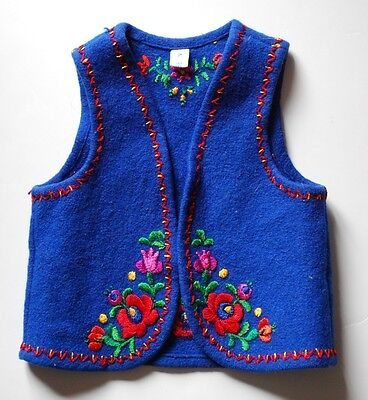 """HUNGARIAN FOLK VEST Hand Embroidered Childs Wool Ethnic Folkloric Peasant 19"""" Ch"""