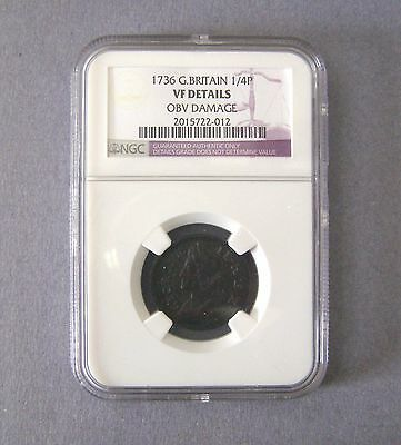 1736 George II FARTHING 1/4P Great Britain Coin NGC VF Details