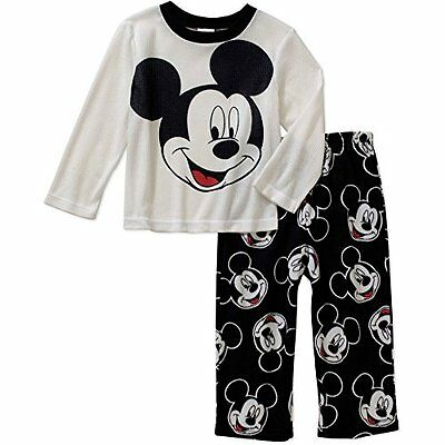 Disney Little Boys' Mickey Mouse Fleece Pant Pajama Sleepwear 2 Piece Set (4T)