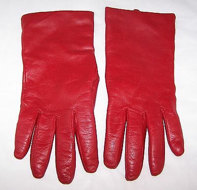 Women's Red Leather 100% Cashmere Lined Gloves Fownes Brothers Sz 8