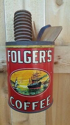 Vintage Folger's Tin Two Pound Coffee Can ~ Great Graphics ~ Kitchen Container ~