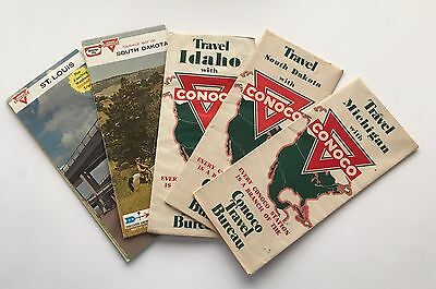 Five (5) Vintage CONOCO Service Station Road Maps