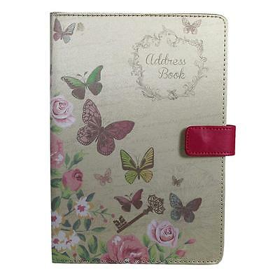 Beautiful Fabric Cover - A5 A-Z Index Address Book - Butterfly Design