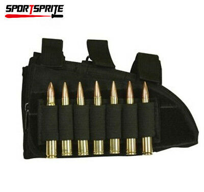 Rifle Butt Stock Gun Ammo Pouch Holster with Cheek Leather Pad for Left Hand
