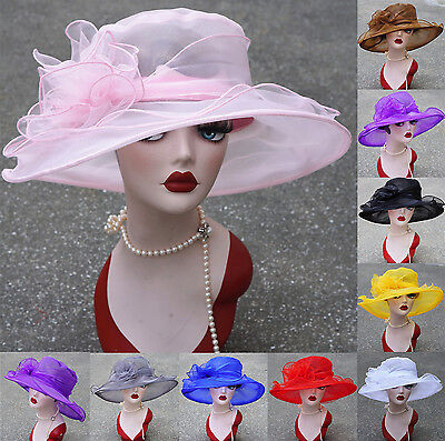 Womens Kentucky Derby Wide Brim Wedding Church Occasional Organza Sun Hats A002