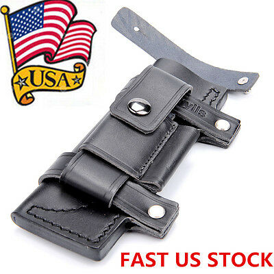 """Black Fixed Blade Pouch Case Straight Leather Belt Sheath For Less 7"""" Knife US"""