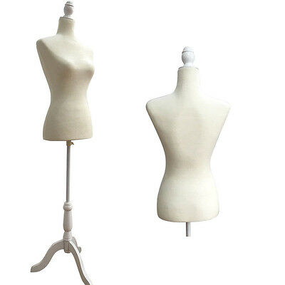Female Mannequin Torso Dress Form Display W/ White Tripod Stand White Size36 NEW